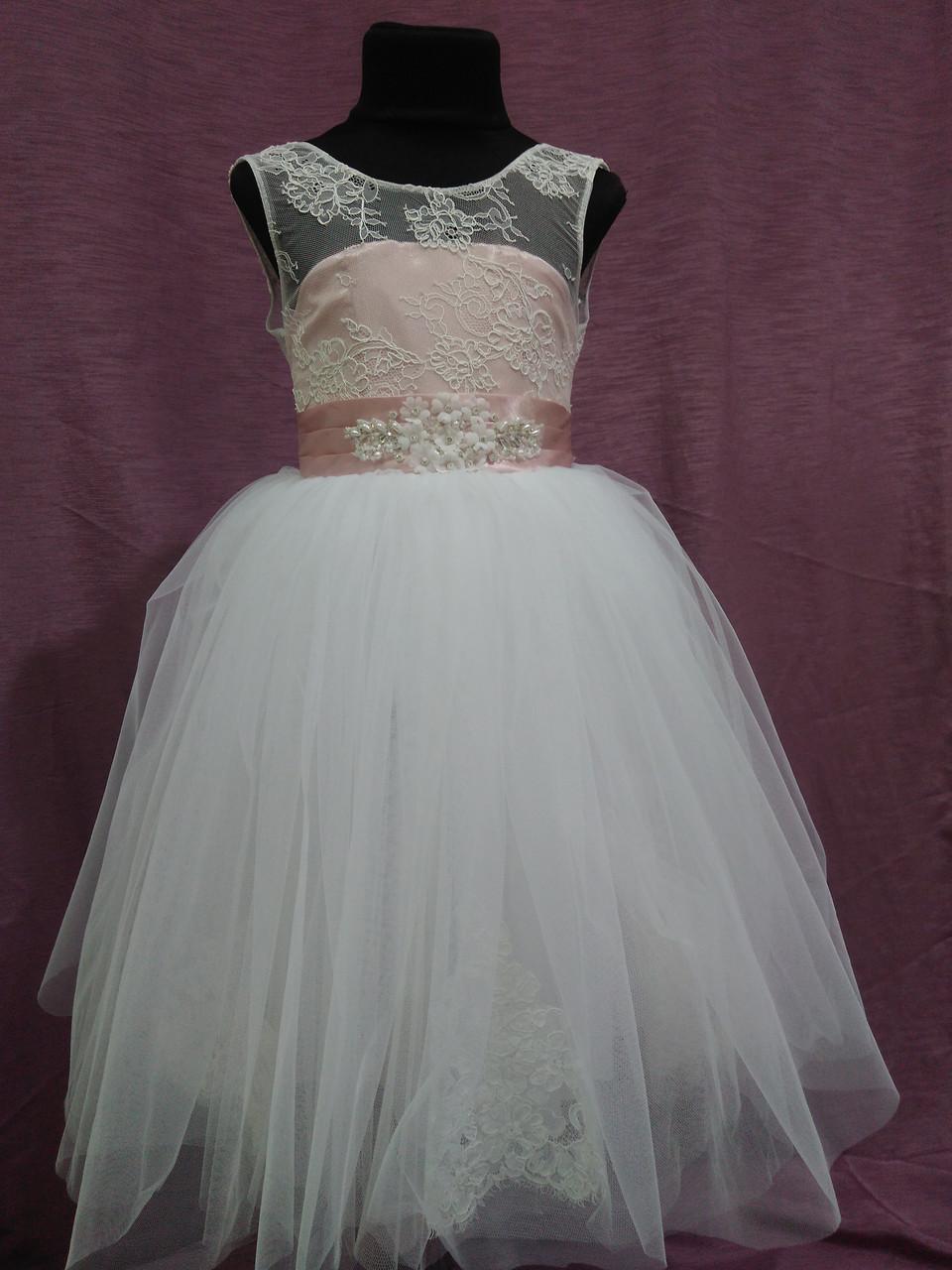 Платье детское нарядное на 4-6 лет пудровое с белым