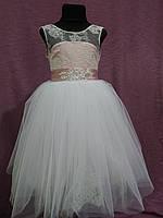Платье детское нарядное на 4-6 лет пудровое с белым, фото 1