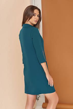 Современное платье рубашка мини свободного кроя с карманами воротник рукав три четверти цвет бутылка, фото 2