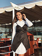 Удлиненное платье-рубашка с жилетом в комплекте (К23919), фото 1