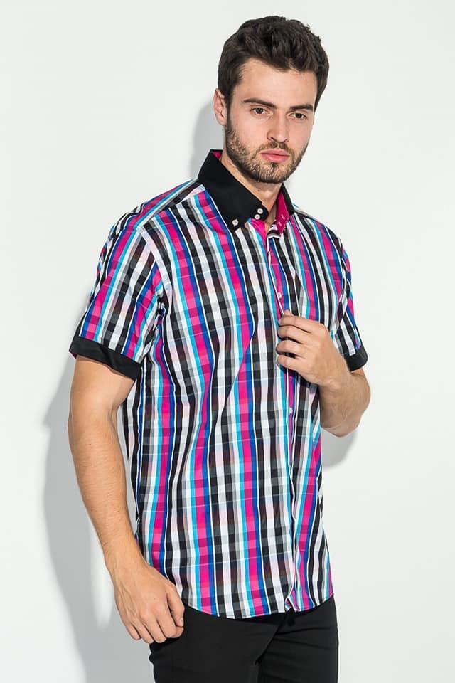 Яркая Мужская рубашка в клетку FGC приталенная 001