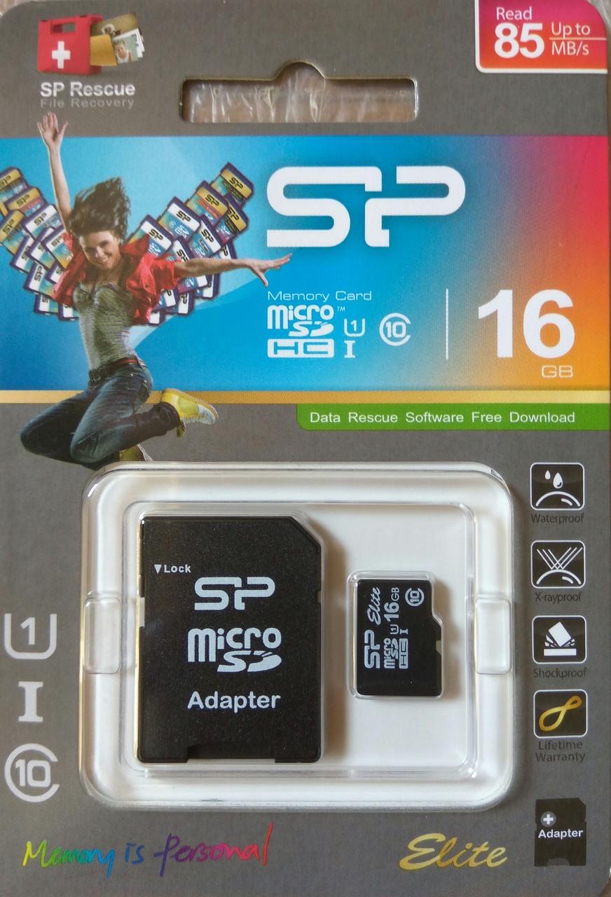 Карта памяти микро SDHC Silicon Power 16 гб класс 10 с адаптером