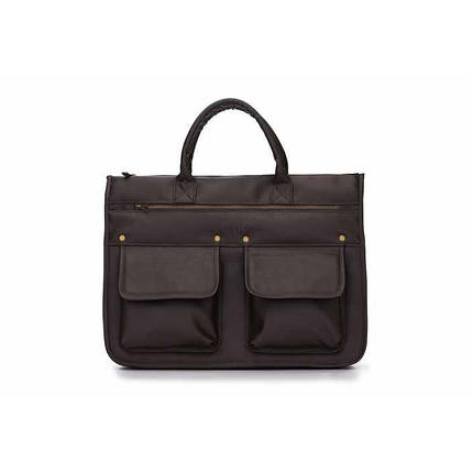 Современный мужской портфель темно коричневый Solier S24 , фото 2