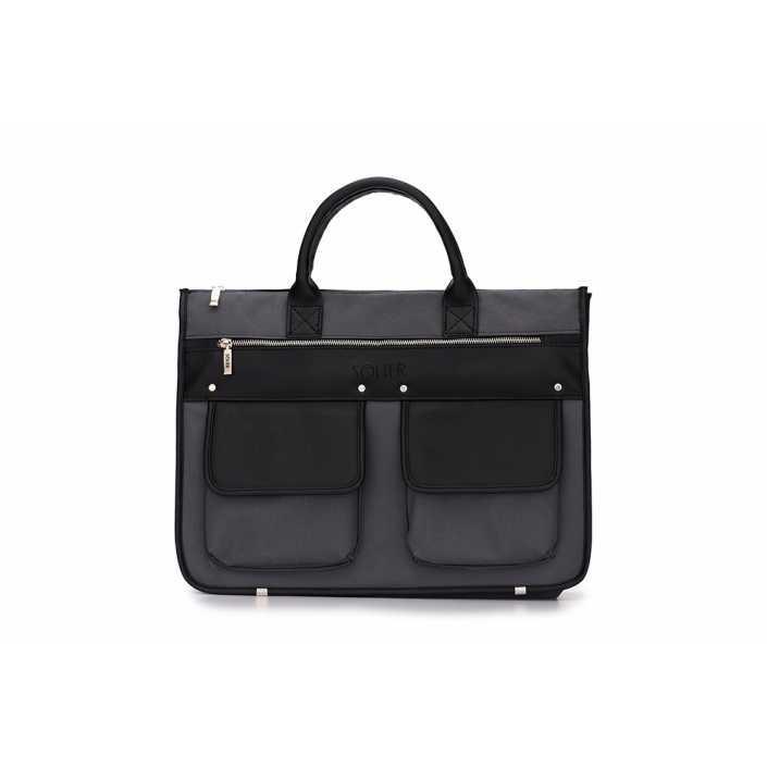 Современный мужской портфель серо черный Solier S24