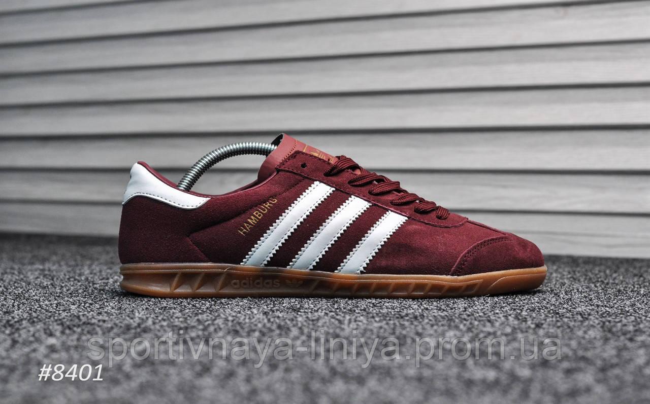 Кроссовки мужские красные Adidas Hamburg Bordo White (реплика)