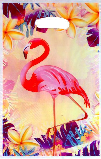 Пакет подарочный 25*16.5 см Фламинго полиэтилен