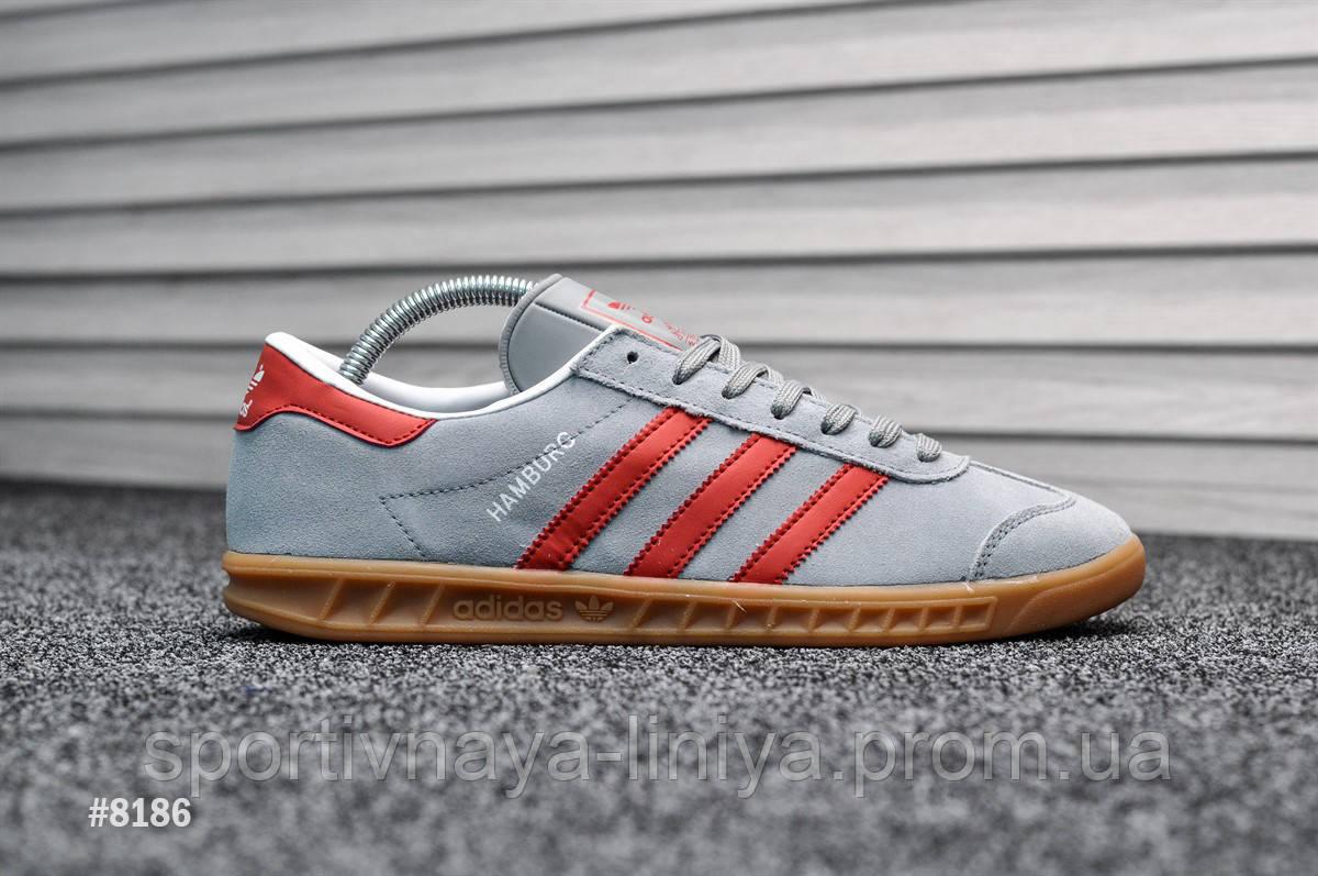 Кроссовки мужские серые Adidas Hamburg Gray Red (реплика)