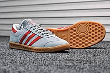 Кроссовки мужские серые Adidas Hamburg Gray Red (реплика), фото 2