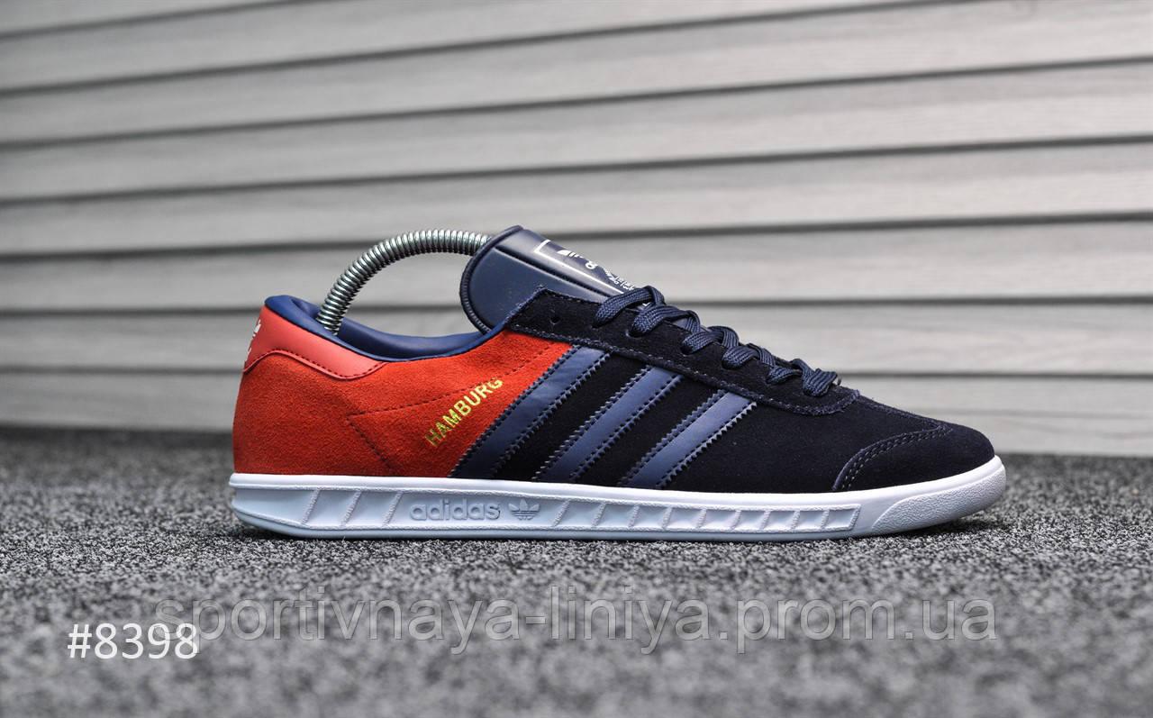 Кроссовки мужские синие Adidas Hamburg Blue Red (реплика)