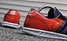 Кроссовки мужские синие Adidas Hamburg Blue Red (реплика), фото 3