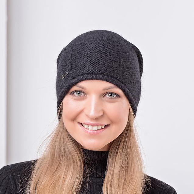 Молодіжна чорна одинарна ангоровая шапка