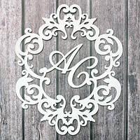 Топ! Свадебная деревянная Монограмма с инициалами молодых 50х50 см №12, Белая