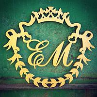 Топ! Деревянный Герб с Инициалами молодоженов 50х50 см №13, Белый