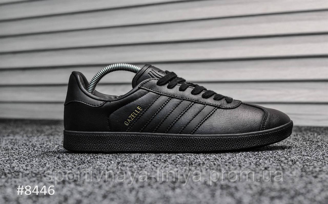 Кроссовки мужские черные Adidas Gazelle II Triple Black Leather (реплика)