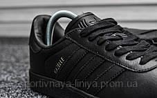 Кроссовки мужские черные Adidas Gazelle II Triple Black Leather (реплика), фото 2