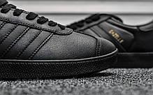 Кроссовки мужские черные Adidas Gazelle II Triple Black Leather (реплика), фото 3