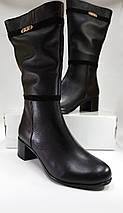 Женские демисезонные сапожки  МИДА 22347 черные, кожаные на маленьком каблуке., фото 2