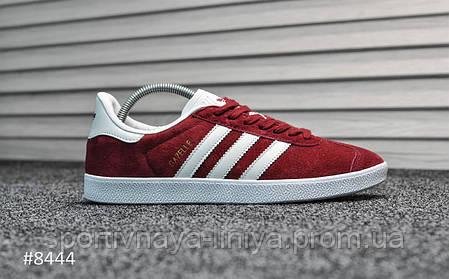 Кроссовки мужские красные Adidas Gazelle II Bordo (реплика), фото 2