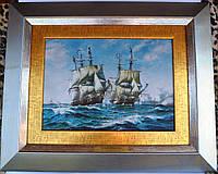Картина корабли в море металографика на латуни