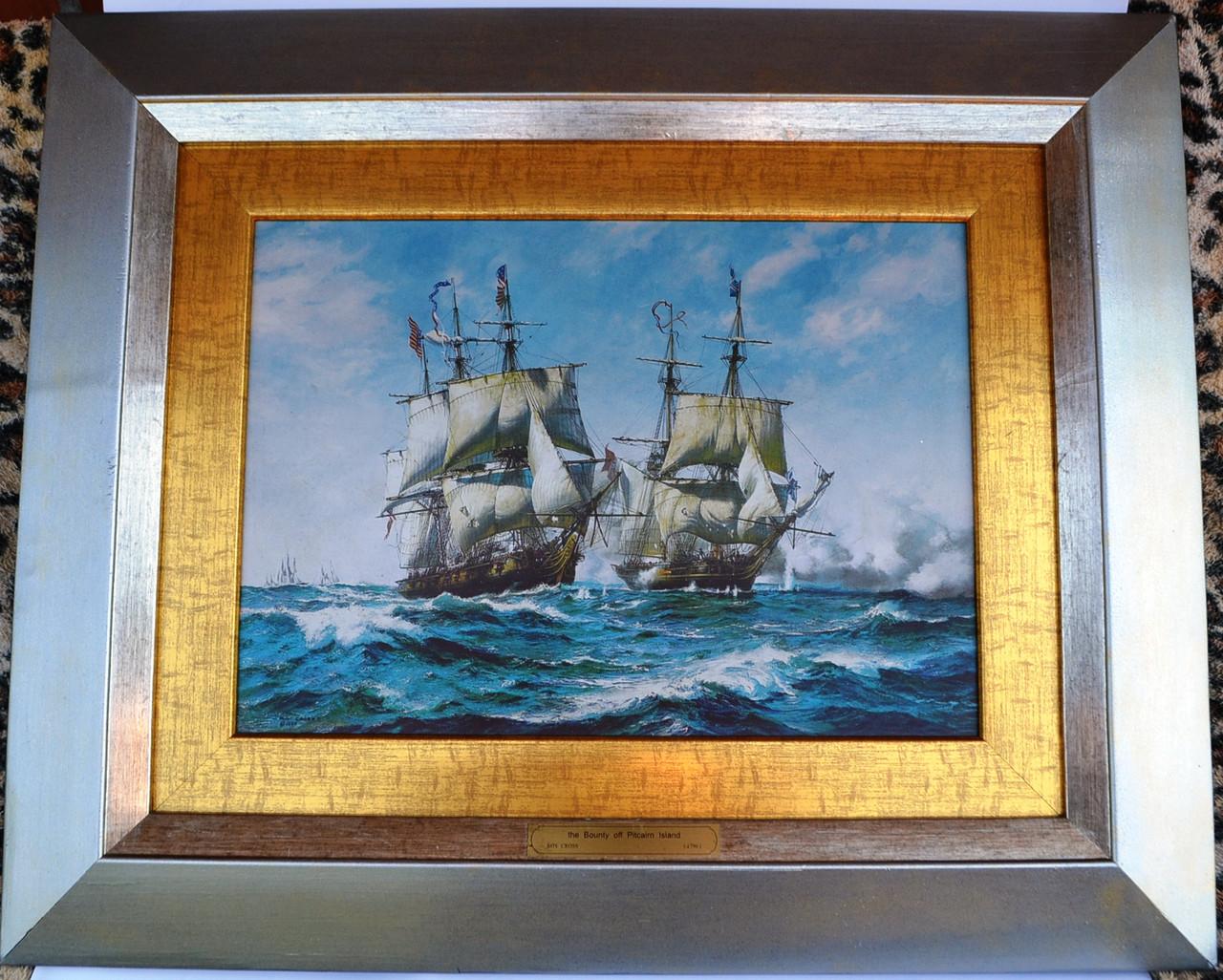 Картина корабли в море металографика на латуни, фото 1