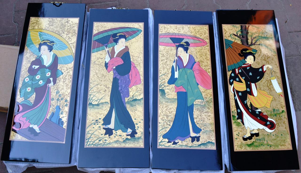 Набор из 4-х картин (женщины с зонтами)