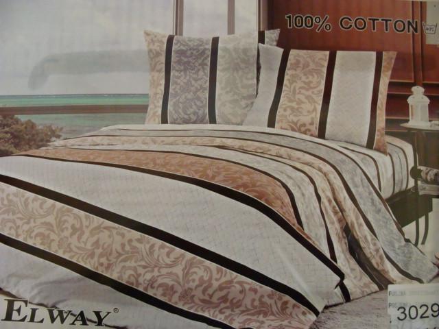 Сатиновое постельное белье полуторное ELWAY 3029
