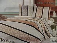 Сатиновое постельное белье полуторка ELWAY 3029