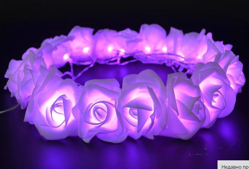 Светодиодная гирлянда пурпурные Розы 2м 20LED на батарейках АА