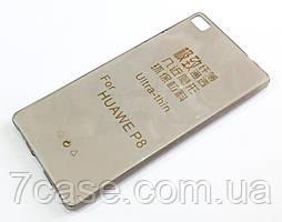 Чехол для Huawei P8 силиконовый ультратонкий прозрачный серый