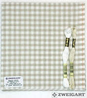 Ткань равномерного переплетения Zweigart Murano-Carre 7663/1012 (в бежево-молочную клетку) Checkered Beige and