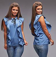 Блуза без рукавов вертикальные оборки / софт / Украина 5-339, фото 1