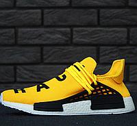 Кроссовки Мужские Adidas NMD Human Race x Pharrell Williams Yellow, Адидас НМД, реплика