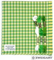 Ткань равномерного переплетения Zweigart Murano-Carre 7663/6282 (в желто-зеленую клетку) Checkered Green and Y