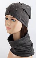 Комплект из утепленной шапки и бафа Бусы темно-серый