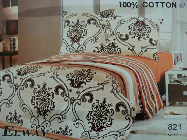 Сатиновое постельное белье полуторное ELWAY 821