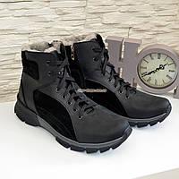 Ботинки мужские кожаные черные на шнуровке и молнии, зима/осень, фото 1