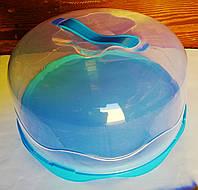 Тортовница с крышкой d- 230мм, пластик, цвета в ассортименте., фото 1