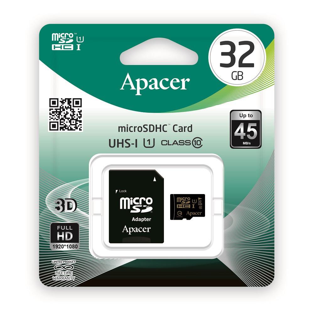 Карта памяти Apacer microSDHC 32GB UHS-I Class 10 + SD-adapter (AP32GMCSH10U1-R)