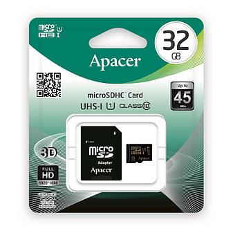 Карта пам'яті Apacer microSDHC 32GB UHS-I Class 10 + SD adapter (AP32GMCSH10U1-R), фото 2