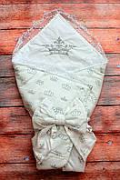 Конверт Одеяло для новорожденных на выписку с  вышивкой осень/весна 78х78 см Корона серебро