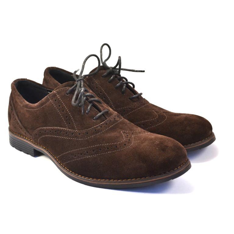 Коричневые туфли мужские броги оксфорды замшевые Rosso Avangard Felicete Brown Vel