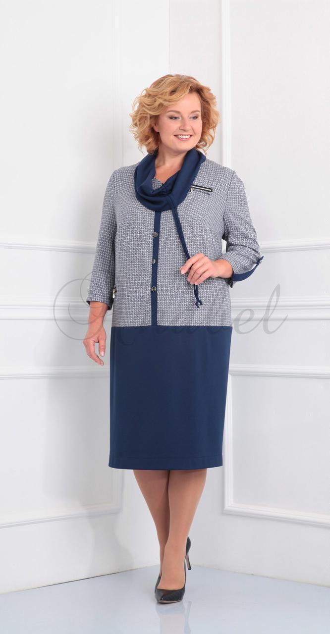 Платье Novella Sharm-2810 белорусский трикотаж, синие тона, 62