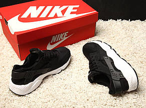 Женские и мужские кроссовки в стиле Nike Air Huarache Black/White, фото 2