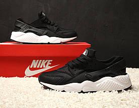 Женские и мужские кроссовки Nike Air Huarache Black/White, фото 2
