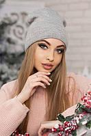 Женская шапка-колпак с фольгированием Лори светло-серая