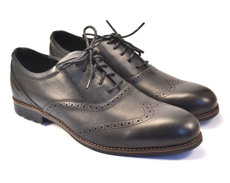 Туфли кожаные броги обувь больших размеров мужская  Rosso Avangard BS Felicete Uomo Black Pelle черные