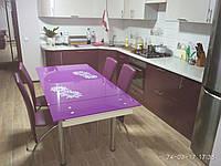 Стол обеденный раскладной Модель-1/Модель-2  стеклянная столешница (рисунок фотопечать на выбор)