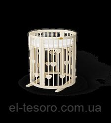 Кругла кроватка-трансформер BAGGYBED с сердечками 9-В-1 -с укачиванием Слоновая кость