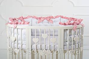Кругла кроватка-трансформер BAGGYBED с сердечками 9-В-1 -с укачиванием Молочный