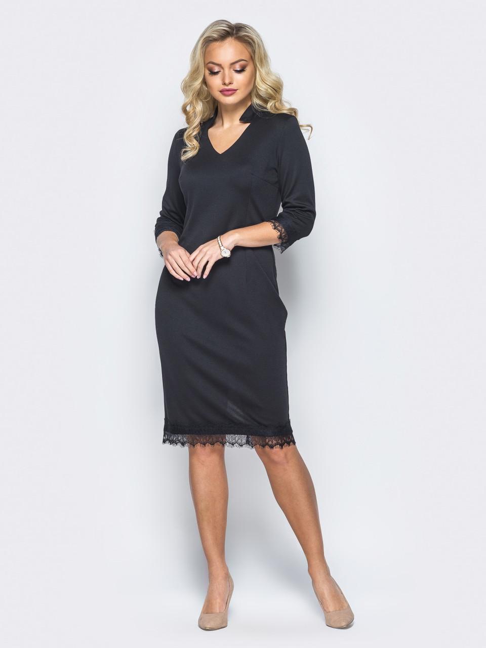 68f8ff93fa7 Черное элегантное трикотажное платье-миди большие размеры р.44